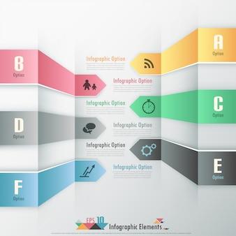 Banner infografía moderna opciones con cintas