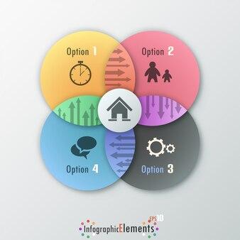 Banner infografía moderna opciones con círculos