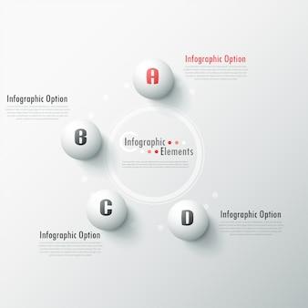 Banner infografía moderna opciones con esferas blancas