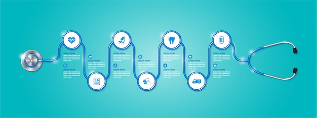 Banner infografía salud y estetoscopio médico e iconos planos