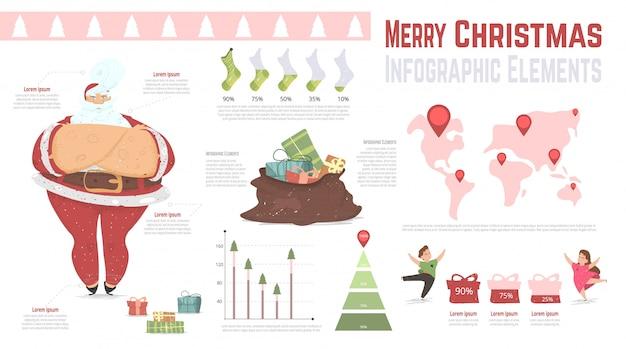 Banner infográfico elementos de vacaciones de navidad.