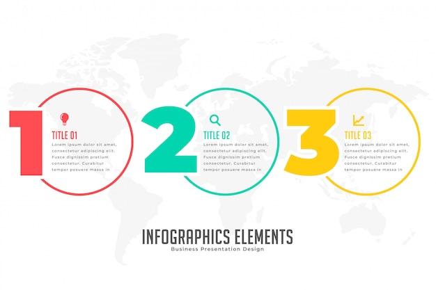 Banner infográfico moderno de tres pasos.