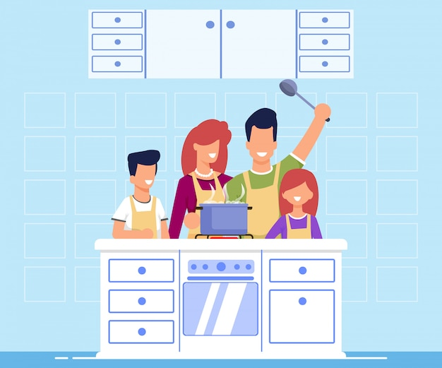 Banner informativo cocina familiar de dibujos animados plana.