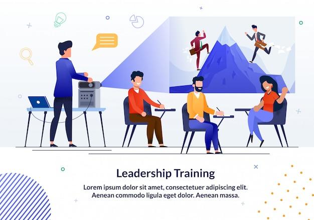 Banner informativo entrenamiento de liderazgo escrito.