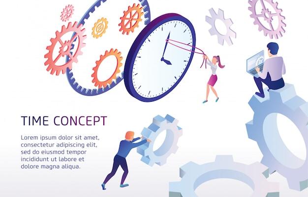 Banner informativo es tiempo escrito concepto plano.