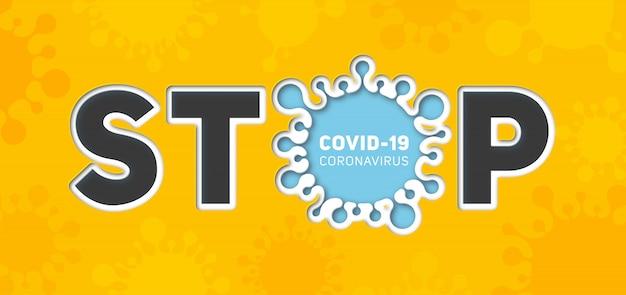 Banner informativo sobre la enfermedad por coronavirus 2019-ncov. detener la enfermedad infecciosa covid-19. arte de papel de silueta de virus y texto. la epidemia mundial amenaza la salud de las personas.