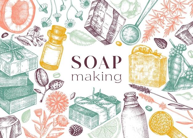 Banner de ingredientes de fabricación de jabón en color materiales aromáticos dibujados a mano para cosméticos y jabón