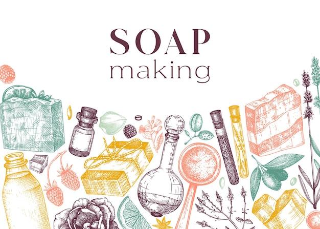 Banner de ingredientes de fabricación de jabón en color materiales aromáticos dibujados a mano para jabón
