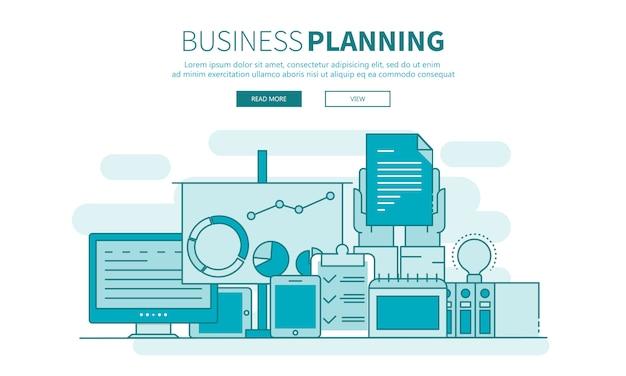 Banner de inicio, planificación de negocio y esquema de resultados.