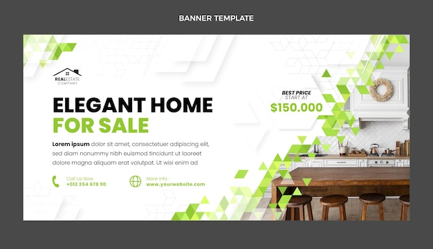 Banner de inmobiliaria geométrica abstracta de diseño plano