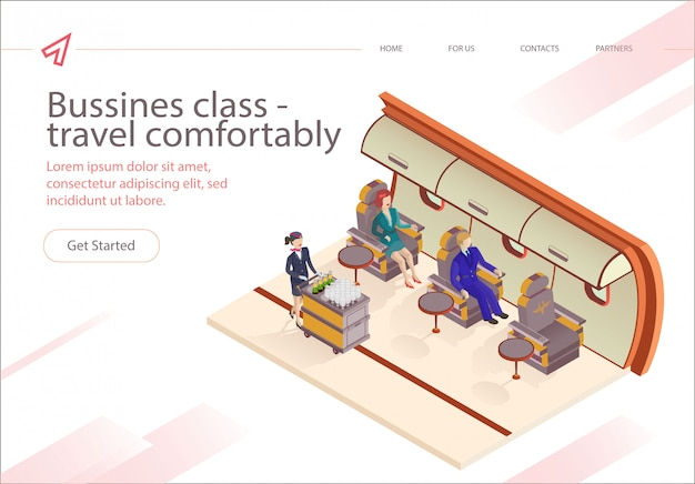 Banner de inscripción clase de negocios volar cómodamente.