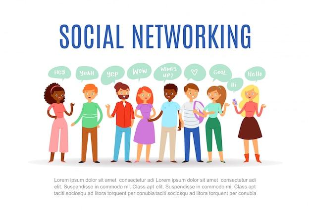 Banner, inscripción redes sociales, comunicación moderna de internet comunicación gratuita personas, ilustración de dibujos animados.