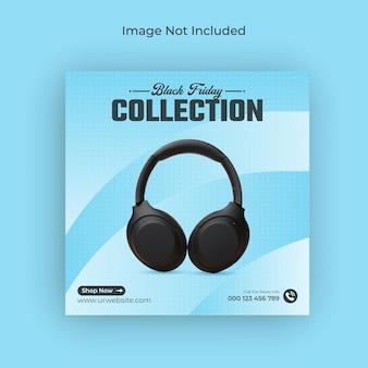 Banner de instagram y banner web de venta de auriculares de black friday en redes sociales vector premium