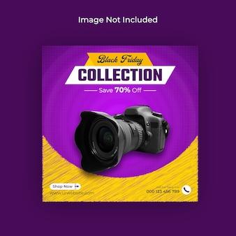 Banner de instagram y banner web de venta de gadgets de black friday en redes sociales vector premium