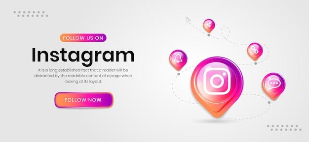 Banner de instagram de iconos de redes sociales