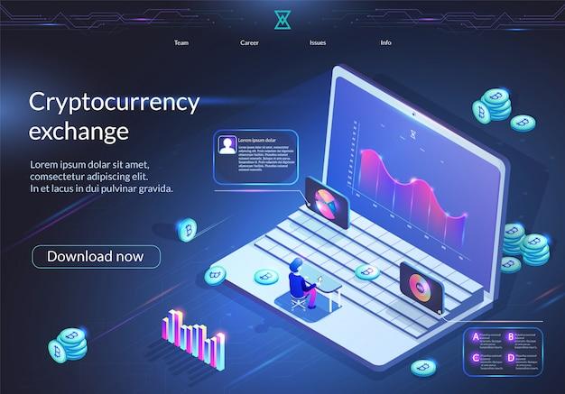 Banner de intercambio de criptomonedas. negocio digital.