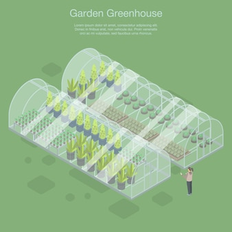 Banner de invernadero de jardín, estilo isométrico