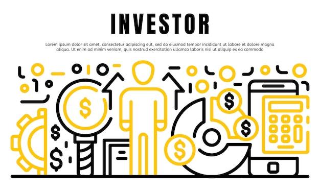 Banner de inversionista, estilo de contorno