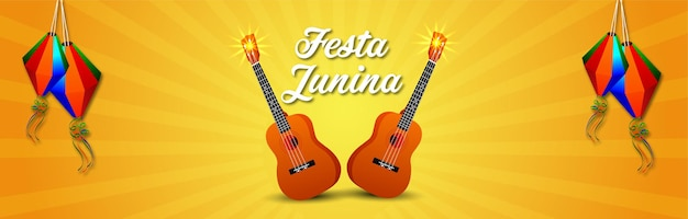 Banner de invitación al festival brasileño de festa junina con guitarra creativa
