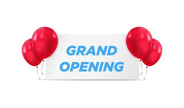 Banner de invitación de evento de gran inauguración con globos vector de plantilla de cartel de gran inauguración
