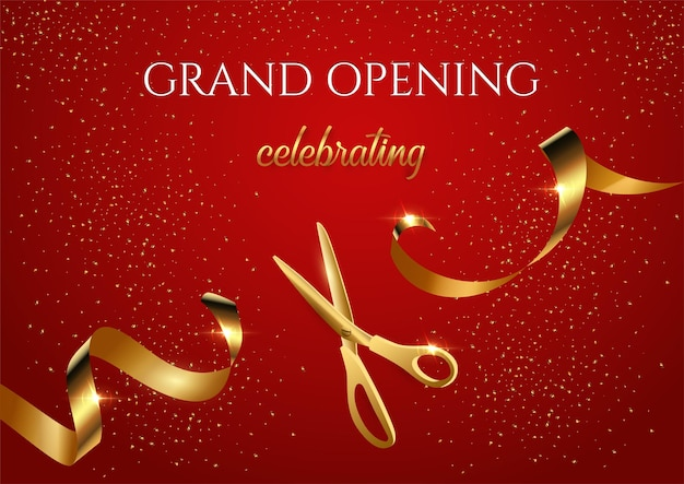 Banner de invitación de gran inauguración con tijeras brillantes cortando cinta dorada