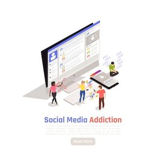 Banner isométrico de adicción a la red social con imágenes de personajes humanos de computadora de escritorio y texto con ilustración de botón,