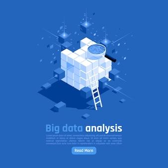 Banner isométrico de análisis de big data