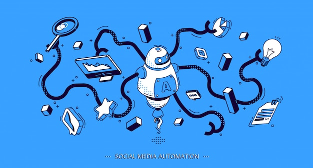 Banner isométrico de automatización de redes sociales. seo