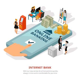 Banner isométrico de banca en línea