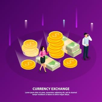 Banner isométrico de bolsa con título de cambio de moneda y cuello blanco hacen una ilustración de dinero