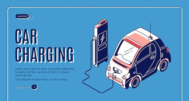 Banner isométrico de carga de coche ecológico