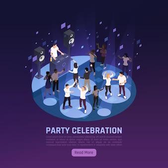 Banner isométrico de celebración de fiestas con gente bailando y disc jockey