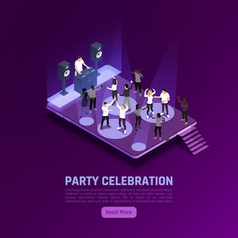 Banner isométrico de celebración de fiestas