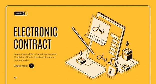 Banner isométrico de contrato electrónico,