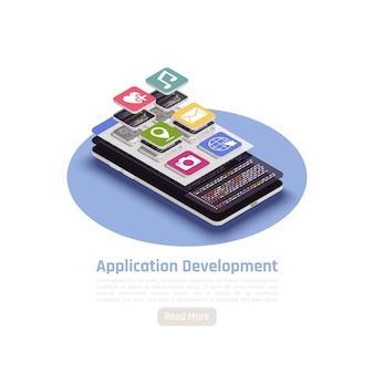 Banner isométrico de desarrollo de aplicaciones con composición redonda de leer más texto de botón e ilustración de teléfono inteligente,