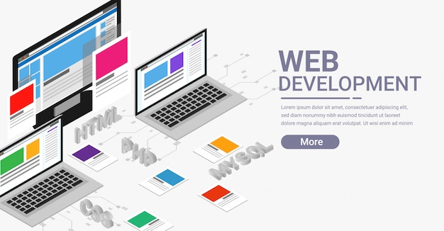 Banner isométrico de desarrollo web