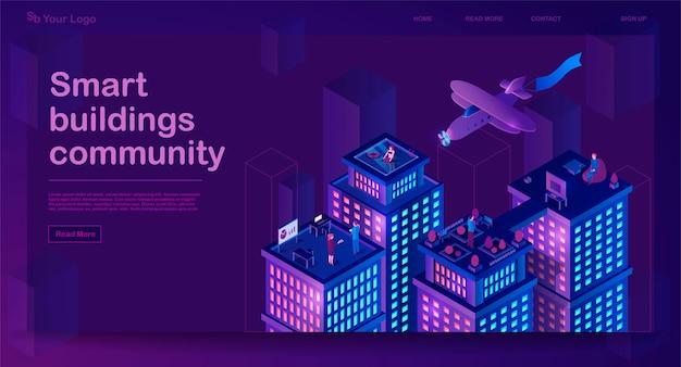 Banner isométrico de edificios inteligentes
