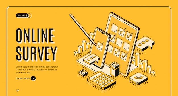 Banner isométrico de encuesta en línea