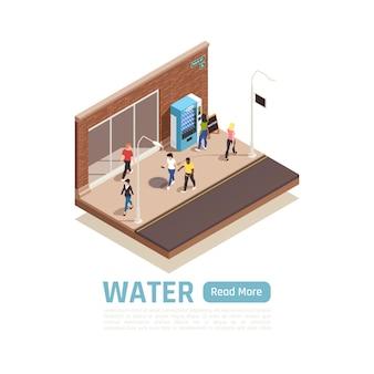 Banner isométrico de entrega de agua con vista de la ciudad, personas y máquina expendedora