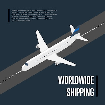 Banner isométrico de envío mundial con avión