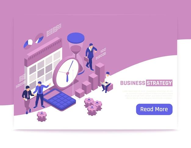 Banner isométrico de estrategia empresarial con personas creativas que discuten planes de desarrollo empresarial