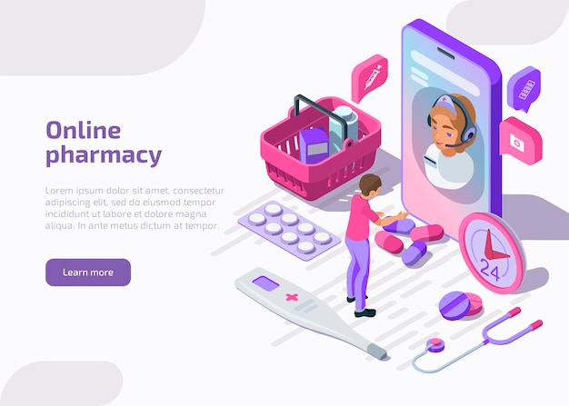 Banner isométrico de farmacia en línea con bolsa de compras, tabletas, boticario.
