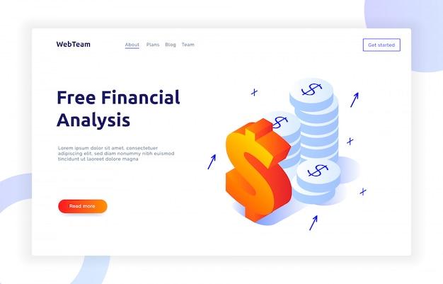 Banner isométrico de finanzas y marketing.