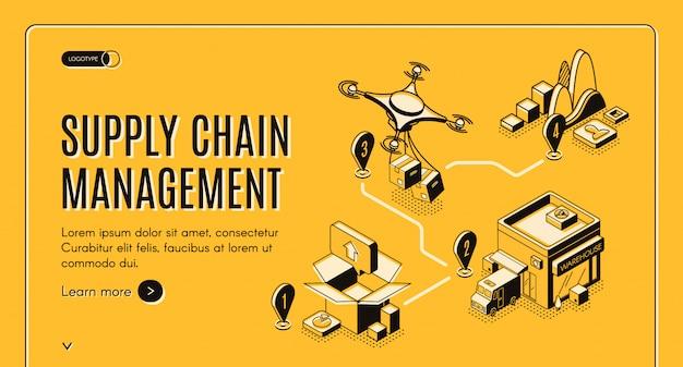 Banner isométrico de gestión de la cadena de suministro