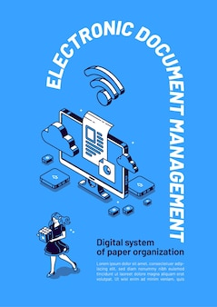 Banner isométrico de gestión de documentos electrónicos.