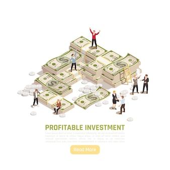Banner isométrico de gestión patrimonial con billetes, monedas y personajes.