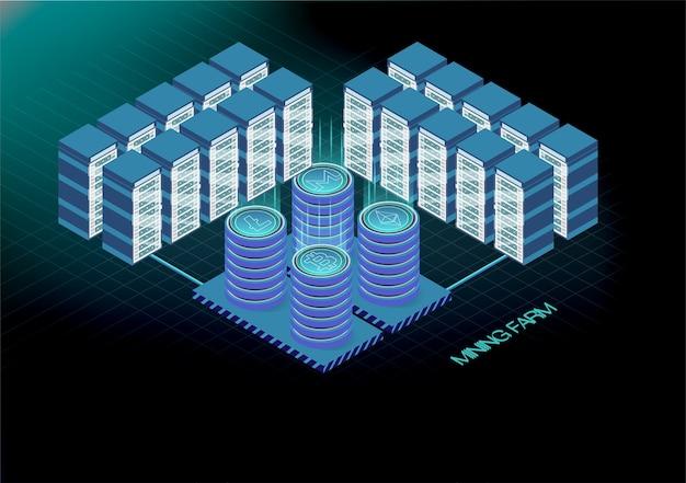 Banner isométrico con granja minera de bitcoin, concepto de minería de criptomonedas, 3d isométrico financiero.