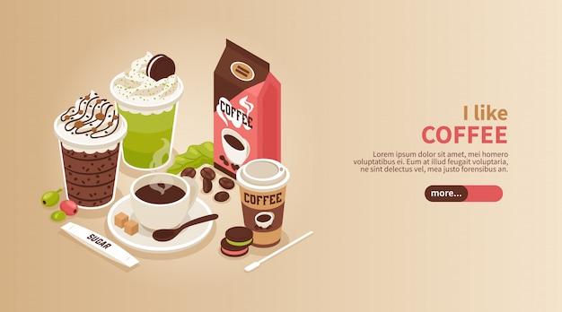 Banner isométrico horizontal con taza y vasos de café caliente con galletas de crema batidas y topping 3d