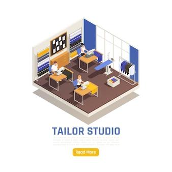 Banner isométrico interior de estudio de moda atelier