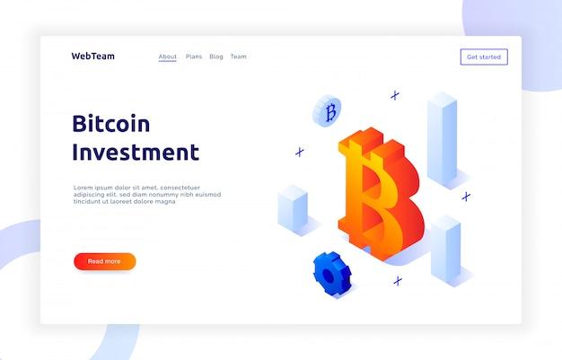 Banner isométrico de inversión bitcoin